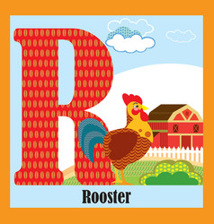 animal alphabet r vector image