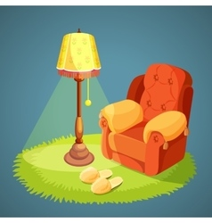 Armchair with pillows green carpet on floor lamp vector