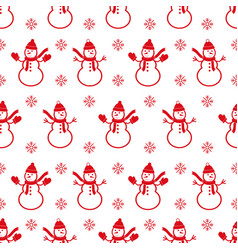 background with snowmans christmas seamless vector image