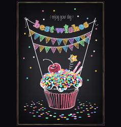 birthday invitation card birthday cupcake vector image
