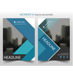 Blue triangle annual report brochure flyer design vector