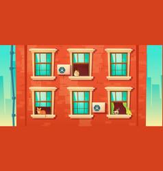 Building facade with brick wall and windows vector