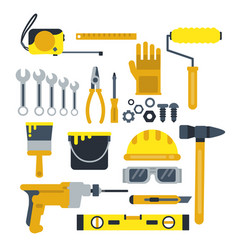 building or repair tools work helmet hammer vector image