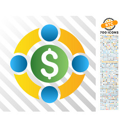 Business social network flat icon with bonus vector