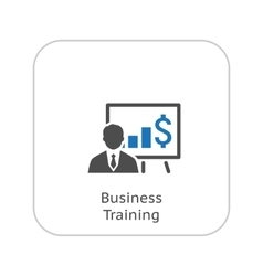 Business training icon online learning flat vector