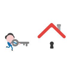 businessman character running and holding key to vector image