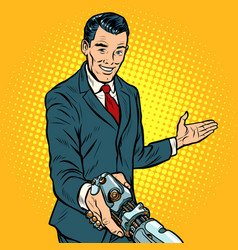 businessman shaking hands with robot new vector image