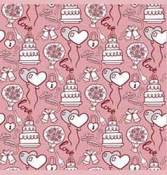 cake pie tart happy birthday cartoon seamless vector image
