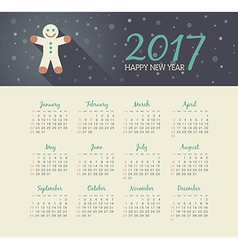 Calendar 2017 year with christmas Gingerbread man vector