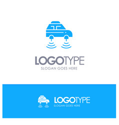 Car electric network smart wifi blue solid logo vector