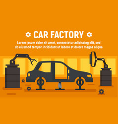 car factory assembly line concept banner flat vector image
