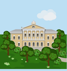 Cartoon rich manor house or palace in green vector