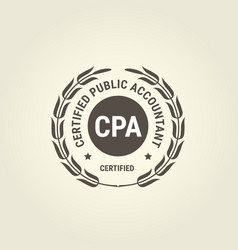Certified public accountant emblem cpa bookkeeper vector