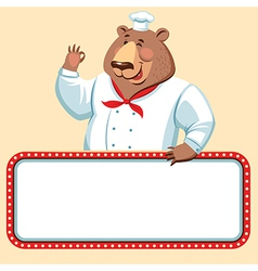 Chef bear banner vector