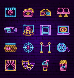 Cinema neon icons vector