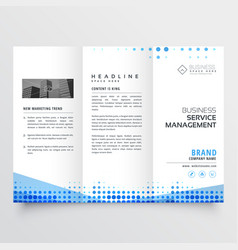 Clean tri-fold brochure design with abstract blue vector