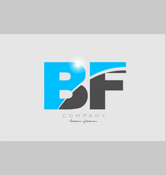 Combination letter bf b f in grey blue color vector