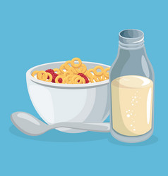 Corn flakes and milk delicious food breakfast menu vector