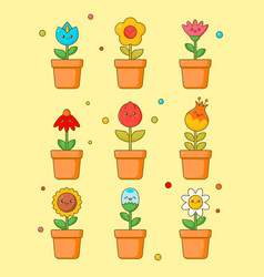 cute flower kawaii clipart sticker floral plant vector image
