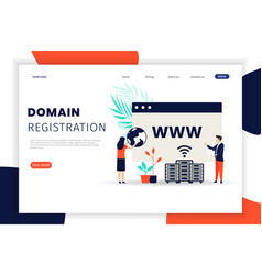Domain registration concept landing page template vector