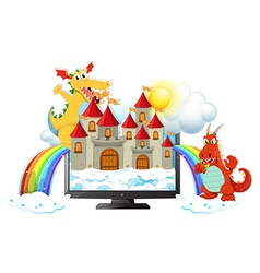 Dragons and castle on computer screen vector