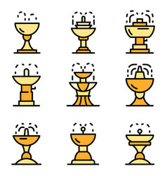 drinking fountain icons flat vector image