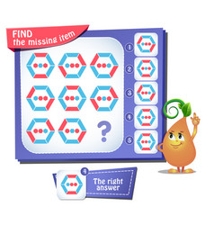 Find missing item hexagon iq vector