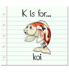 Flashcard letter k is for koi vector