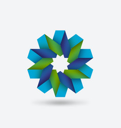 flower geometric symbol blue and green of vector image