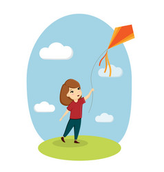 girl and kite child playing nature lawn sky vector image