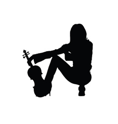 Girl with violin silhouette vector