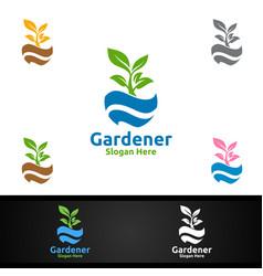 global gardener logo with green garden vector image