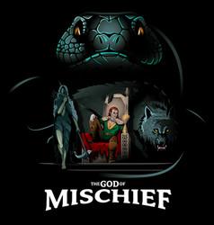 God of mischief and his children vector