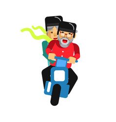 Grandparents driving on motorbike isolated vector