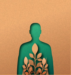 green nature man papercut concept with leaf vector image