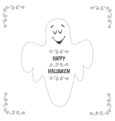 Halloween ghost poster design Postcard with hand vector image