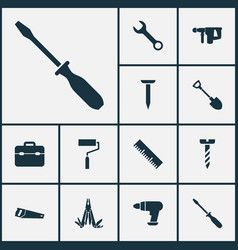 handtools icons set collection of turn-screw vector image