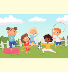 happy active kids characters summer outdoor vector image