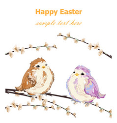 Happy easter card with cute little sparrows vector