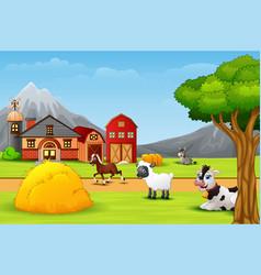 Happy farm animal in the farmyard vector