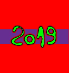 happy new year numbers 2019 of brush stroke vector image