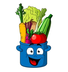 Healthy fresh vegetables in blue pot vector