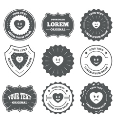 Heart smile face icons Happy sad cry vector image