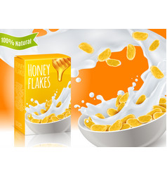 Honey breakfast cereals realistic composition vector