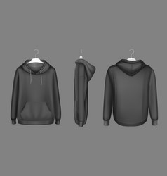 hoody black sweatshirt on hanger mock up set vector image