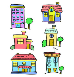 House set colorful of doodles vector