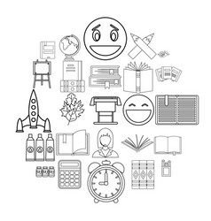 Inspect icons set outline style vector