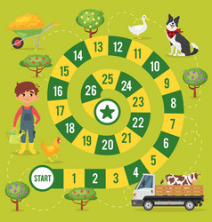 Kids farm board game vector