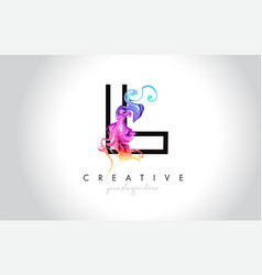 L vibrant creative leter logo design with vector