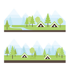 landscape with icelandic turf houses vector image